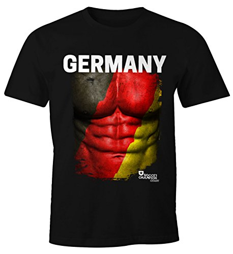 cooles EM T-Shirt Herren Fußball Deutschland Fanshirt Flagge Waschbrettbauch Moonworks® schwarz L (Land-flaggen-t-shirt)