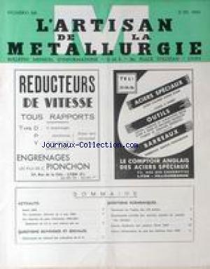 ARTISAN DE LA METALLURGIE (L') [No 125] du 01/06/1960 - ACTUALITES - QUESTIONS OUVRIERES ET SOCIALES ET ECONOMIQUES.