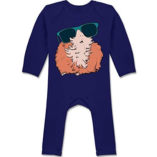 Shirtracer Tiermotive Baby - Meerschweinchen mit Sonnenbrille - 12-18 Monate - Navy Blau - BZ13 - Baby-Body Langarm für Jungen und Mädchen