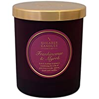 Shearer Candles Frankincense and Myrrh Scented Jar Candle with Gold Lid - Burgundy