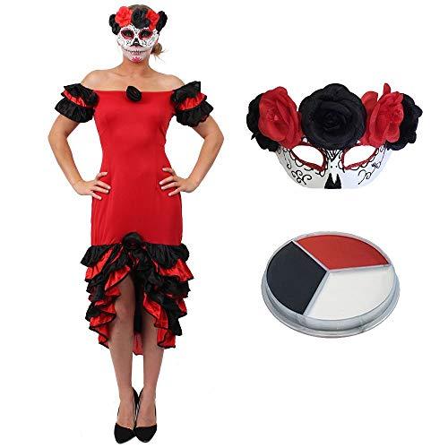 Kostüm Und Bräutigam Tag Der Braut Toten - ILOVEFANCYDRESS Halloween Frauen Day of The Death Fasching Karneval KOSTÜM VERKLEIDUNG= Rumba Kleid+SCHMINKE+Maske=Large