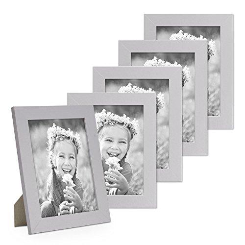 PHOTOLINI 5er Bilderrahmen-Set 13x18 cm Basic Collection, Modern, Silber, aus MDF, Inklusive Zubehör/Bilderrahmen-Collage Silber 13