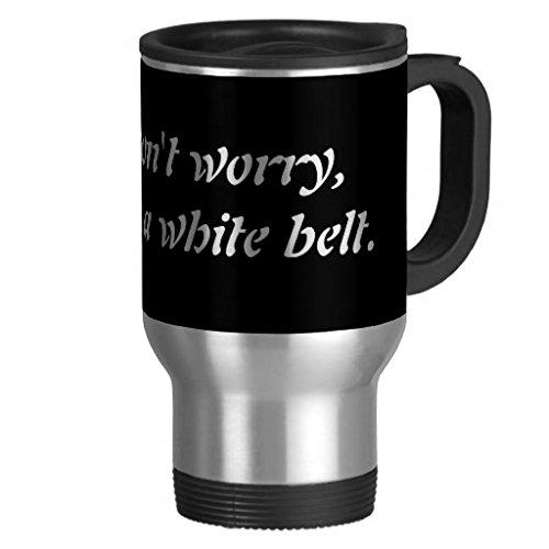 hiekon ne vous inquiétez pas im une ceinture Blanc Gobelet en acier inoxydable tasse de voyage en acier, 14-Ounce