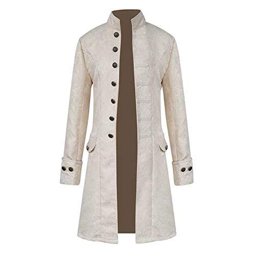 FIRSS Herren Mantel Knopf Lange Wintermantel Steampunk Gothic Jacke Kostüm Smoking Trenchcoat Retro Parka Windbreaker Slim Fit Sweatjacke