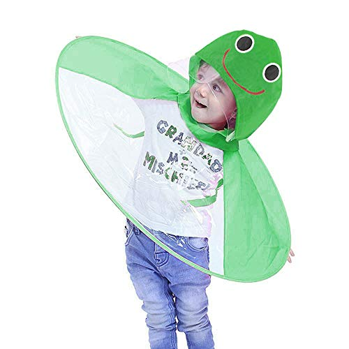 BaojunHT New Kids UFO Shape Raincoat Cute Cartoon Character Children Foldable Portable Hooded Poncho Cloak Plus Size S-L