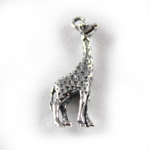 3D 925 Sterling Silver Charm - Giraffe With Gold Spots - Lobster Clasp Clip On - FREE UK POSTAGE wFBgb