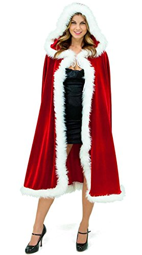 Shangrui Damen Cosplay Weihnachten Kostüm Samt Rot Umhang