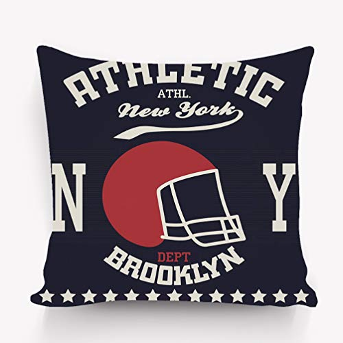 (rongxincailiaoke Kissenbezüge Pillow case New York Sport City Typography American Football Brooklyn 18 * 18 inch)