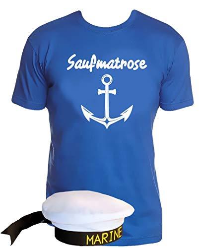 Coole-Fun-T-Shirts Matrosen Kostüm Set Saufmatrose T-Shirt + Matrosenmütze blau - Blaues T Shirt Für Erwachsene Kostüm