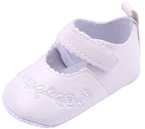 Lukis Baby Mädchen Gestickte Ballerina Festliche Tauf Schuhe Lauflernschuhe Weiß Fußlänge11cm (Weiß Gestickte Hinweis)