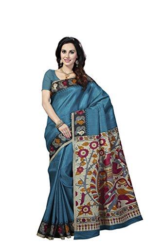 Rani Saahiba Women's Kalamkari Printed Art Bhagalpuri Silk Saree ( Skr3105_Turquoise )