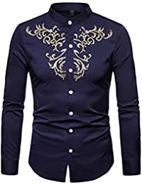 BUSIM Men's Long Sleeved Shirt Autumn Winter Luxury Casual Golden Ethnic Embroidery Solid Color Under The Lapels...