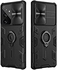 Nillkin Samsung Galaxy S21 Ultra 5G Case with Ring Kickstand and Camera Lens Cover, CamShield Armor Shockproof