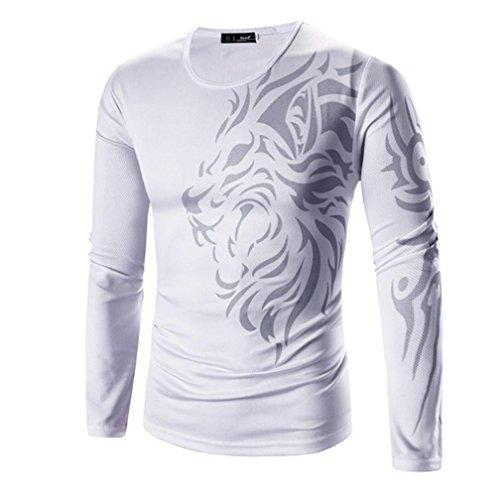 Herren T-shirt,Dasongff Männer Mode Printing Herren Langarm T-Shirt O-Ausschnitt T-Shirts Bluse Tops Tops (XL, Weiss) (Industrie-kurzarm-baumwolle)