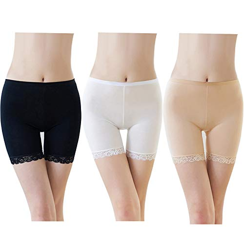FEPITO 3 Pairs Frauen Unter Rock Shorts Sicherheitshosen Weiche Stretch Lace Trim Leggings Kurze Yogahosen Plus (Black+White+Skin, M) - Lace Trim Kurzes Kleid