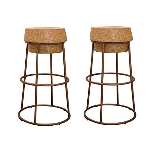 HHYK Hoher Schemel, Eisen-Barhocker, Kaffee-Bar-Kabinett-Küchen-Restaurant-Linie Stuhl 75 cm hoch 3 Farben (Color : Brown*2)