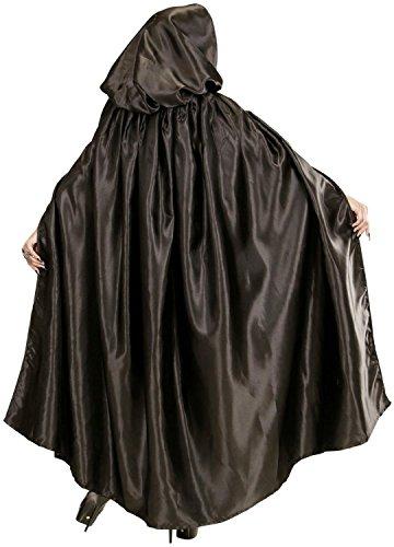 Kapuze Schwarze Robe Mit (Umhang mit Kapuze Cape Kostüm schwarz 152 cm Vampir)