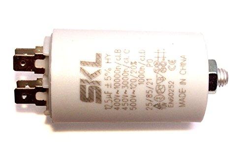 MKP - Kondensator 12,5uF, Motorkondensator 12,5µF 400/450VAC, verwendbar als Betriebskondensator oder Anlaufkondensator (Anlasskondensator) aus selbstheilender metallisierter Polypropylenfolie im Kunststoffbecher, Anschluß über Flachsteckanschluß (Doppelanschluß FastOn250) - 12,5 A Motor