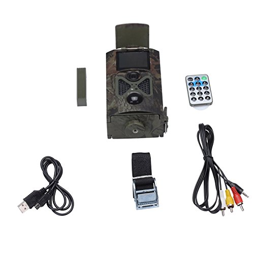 Homgrace Wildkamera 1080P HD JagdKamera 32GB 12 Megapixel (12 MP) LCD Überwachungskamera 20m Nachtsicht 2'' LED Beutekameras