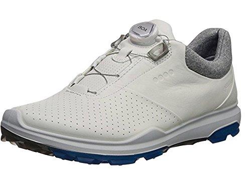 Ecco Golf 2018 Biom Hybrid 3 BOA Gore-Tex Waterproof YAK Leather Lightweight Mens Golf Shoes [White/Dynasty, EU 46= - Hybrid Biom Ecco Golf