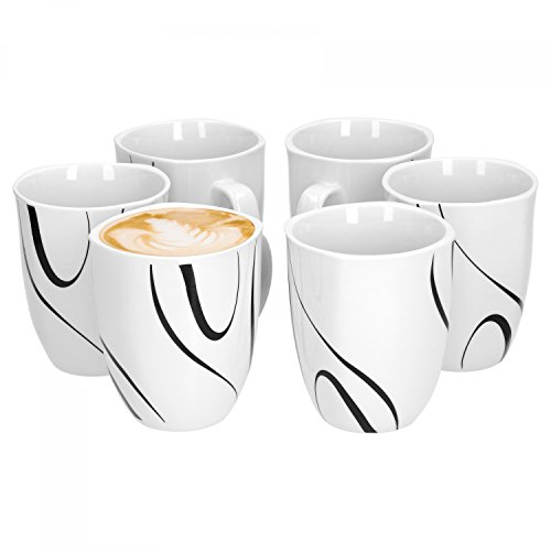 Van Well Galaxy 6er Set Kaffeebecher, 330 ml, H 10,3 cm, Kaffeetasse, Liniendekor, edles...