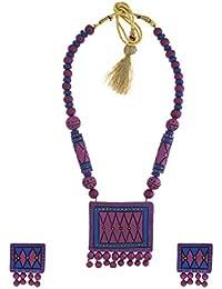 Anuradha Art Pink Colour Squar Shape Wonderful Handmade Terracotta Necklace Set For Women/Girls