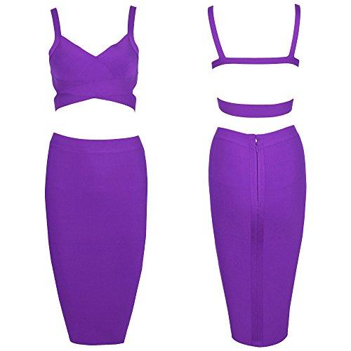HLBandage 2 Piece Set Pure Color Knee Length Bandage Dress Viola