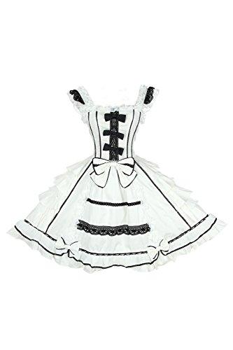 Kostüme Für Frauen Maid (Damen lolita kleider süß ärmellose Lace Bow Dress prinzessin kostuem Maid Cosplay Kostüm)