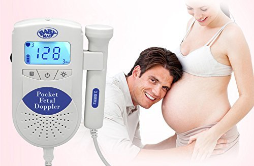 Fetal Doppler - Baby Heartbeat Monitor - ??BabyMad ??- Listen to Unborn Baby's Heartrate while Pregnant - Record Prenatal Fetal Heart Sounds to another Device - built in speaker or listen with earphones, Comes Ready to Go with Batteries and a FREE Tube of Gel (BLUE) by BabyMad