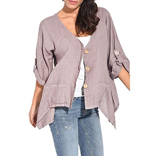 KAIDILA Herbst und Winter Solid Color Breite Strickjacke DREI Button Casual Hemd mit Langen Ärmeln Bluse Multi-Registerkarte