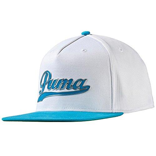 Puma Script Snapback Cap Golf Hat 2016 052958-03 White/Atomic Blue New