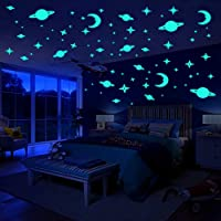 Glow in The Dark Stars Wall Stickers, Beautiful Planets and Moon Luminous DIY Wall Decals Murals, Light Your Nursery Baby Kids Bedroom Living Room -141 Pcs