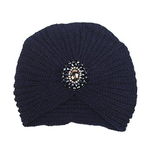 Weihnachtsgeschenk Damen Strickmütze SHOBDW Mode Frauen Winter Warm Knit Crochet Ski Hut Geflochtenen Turban Kopfschmuck Cap (Marine)