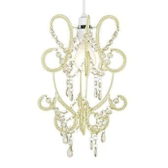 Modern And Elegant Hanging Chandelier Cream Shabby Chic Jewel Beaded Ceiling Pendant Light Shade