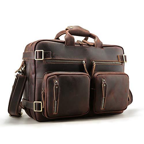 WUZHENG Vintage Leder 15.6 Zoll Laptop Briefcase Messenger Bag Tote Cabrio-Rucksack - Cabrio Rucksack Tote