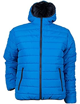 Speedy® - Chaqueta acolchada para hombre - Con capucha y cremalleras en contraste - Azul real - L