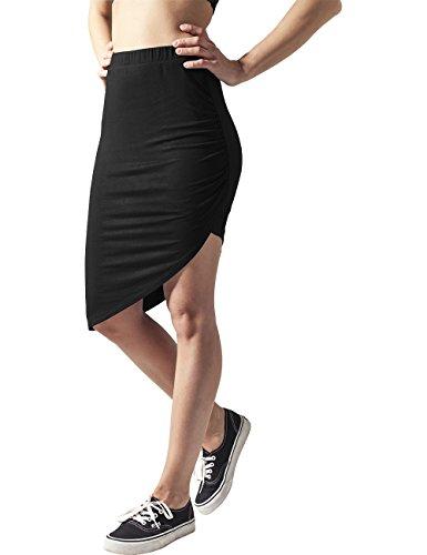 Urban Classics Damen Rock Ladies Asymetric Viscose Skirt, Schwarz (Black 7), 38 (Herstellergröße: M) (Mittellange Röcke)