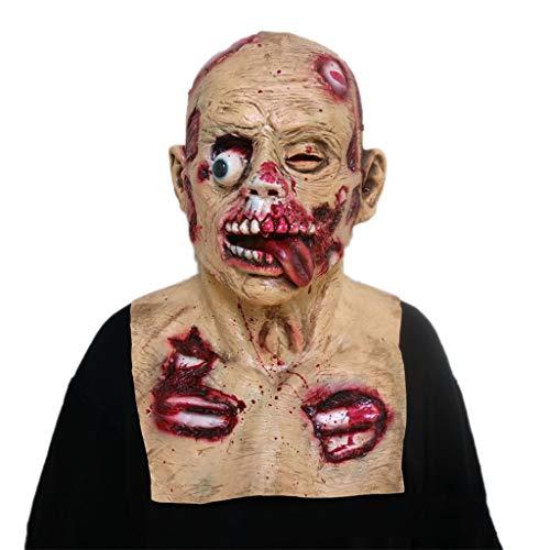 GXDHOME Halloween Latex Kopf Maske, Resident Evil Horror Kostüm Scary Teufel Dämon Masquerade Bloody Creepy Ghost Zombie