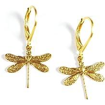 Ohrhänger 14k vergoldet mit schöner Libelle Länge 1,5 cm von GLOWYBOX - Libelle gold im Artdéco Design