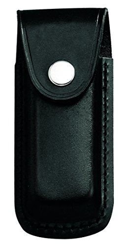 Herbertz Messer-Etui, schwarzes Leder, Gürtelschlaufe, grau, M