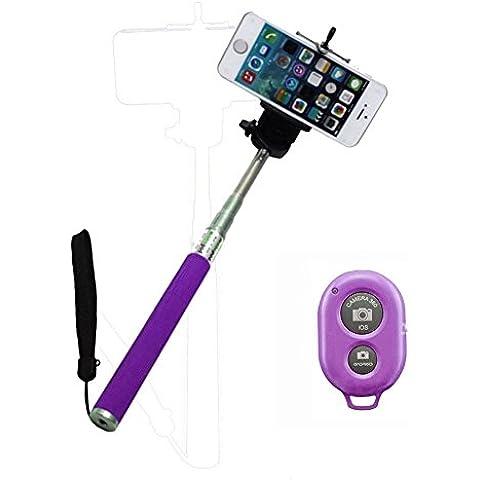 Ultra® púrpura extensible Wireless Bluetooth Selfie Stick monopie disponible en rosa morado negro azul y verde con soporte ajustable para teléfono Smartphone Bluetooth remoto inalámbrico disparador para iPhone Samsung y otros IOS y Android Smartphone