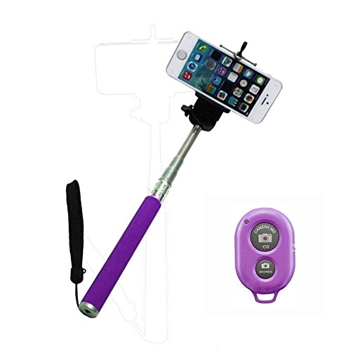 Ultra® púrpura extensible Wireless Bluetooth Selfie Stick monopie disponible en rosa morado negro azul y verde con soporte ajustable para teléfono Smartphone Bluetooth remoto inalámbrico disparador para iPhone Samsung y otros IOS y Android Smartphone (púrpura)
