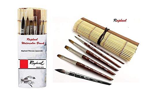 Juego de pinceles y 6 Acuarela,Pincel de acuarela Travel 6 Surtido + PinselMatte Bambou Naturel,Raphael FRANCE