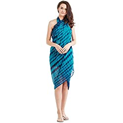 SOURBH Women's Blue Faux Georgette Beach Wear Wrap Sarong Printed Pareo Swimsuit Cover Up