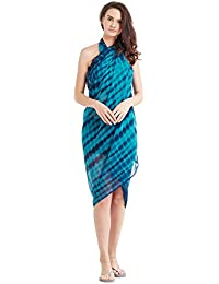 SOURBH Women's Faux Georgette Beach Wear Wrap Sarong Printed Pareo Swimsuit Cover up (S1-with More Option)