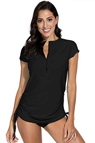 BesserBay Damen Bademode Rash Guard UV Shirts Kurzarm Surf Shirt Schwimmen Tankini Badeshirts UPF 50+, 36, Schwarz