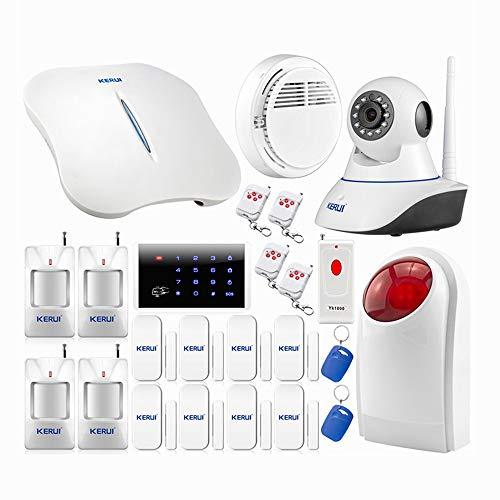 kerui-W1WiFi Kit System Haus-Alarmanlage Auto Anruf ohne Diebstahlsicherung + Außensirene, Alarm Tür und Fenster Startseite-Alarm drahtlose Sicherheit Sensor der Eindringling, IP Kamera Wifi
