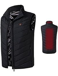 Imixcity Hommes Chauffé Gilet Isolé Veste,Thermique Vêtements de Chauffage électriques d'USB pour Les Activités en Hiver