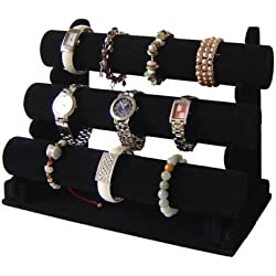 3 Black Velvet Jewellery Display Stand for Bracelet Watch