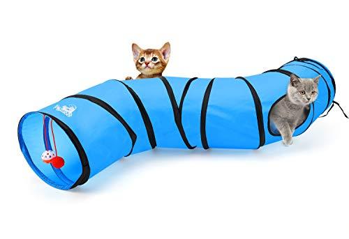 Pawaboo Katze Tunnel - Faltbar S-Schriftart Katzentunnel Cat Play Tunnel Spieltunnel Rascheltunnel Katzenspielzeug mit Pompon und Glocken für Hunde, Welpeln, Kaninchen, Blau